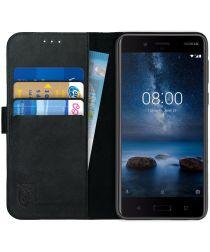 Rosso Deluxe Nokia 8 Hoesje Echt Leer Book Case Zwart