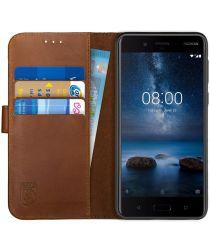 Rosso Deluxe Nokia 8 Hoesje Echt Leer Book Case Bruin