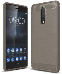 Nokia 8 Geborsteld TPU Hoesje Grijs