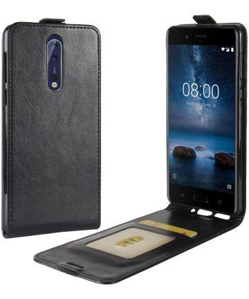 Nokia 8 Flip Hoesje Verticaal Zwart