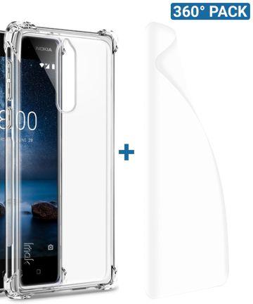 IMAK Nokia 8 Hoesje Flexibel TPU met Screenprotector Transparant