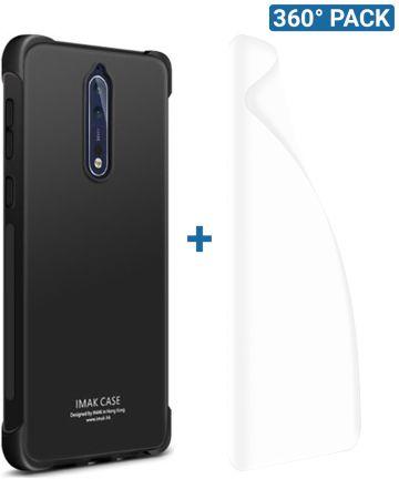 IMAK Nokia 8 Hoesje Flexibel TPU met Screenprotector Metaal Zwart Hoesjes