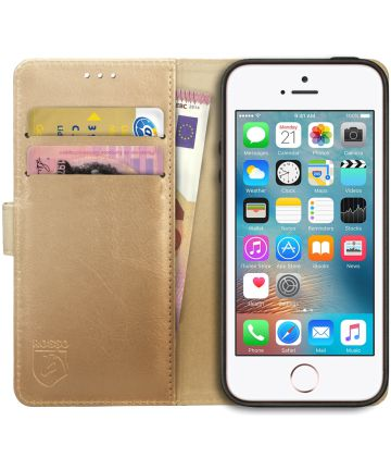 Rosso Element Apple iPhone 5/5S/SE Hoesje Book Cover Goud Hoesjes