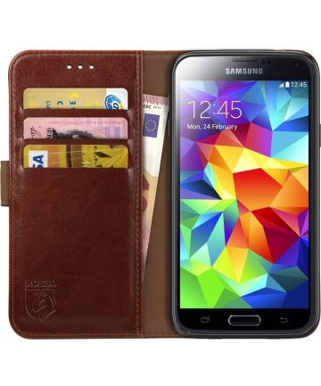 Rosso Element Samsung Galaxy S5 Hoesje Book Cover Bruin Hoesjes