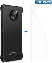IMAK Motorola Moto X4 Hoesje TPU met Screenprotector Metaal Zwart