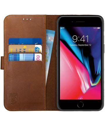 Rosso Deluxe Apple iPhone 7/8 Plus Hoesje Echt Leer Book Case Bruin