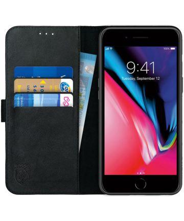 Rosso Deluxe Apple iPhone 7/8 Plus Hoesje Echt Leer Book Case Zwart Hoesjes