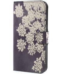 Samsung Galaxy J7 (2017) Portemonnee Hoesje Print White Flower