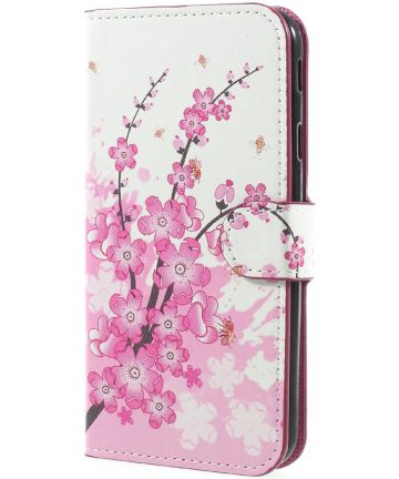 Samsung Galaxy J7 (2017) Portemonnee Hoesje Print Plum Flower