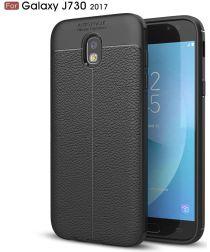 Samsung Galaxy J7 (2017) Lederen TPU Hoesje Zwart