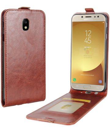 Samsung Galaxy J7 (2017) Verticaal Flip Hoesje Bruin Hoesjes