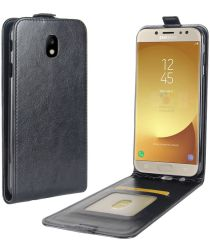 Samsung Galaxy J7 (2017) Verticaal Flip Hoesje Zwart