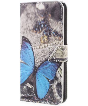 Sony Xperia XZ1 Portemonnee Hoesje met Blauw Vlinder Print