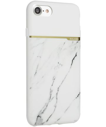 Apple iPhone 7 / 8 TPU Back Cover Marmeren Print Wit