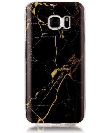Samsung Galaxy S7 Print TPU Hoesje Marmer Zwart Hoesjes