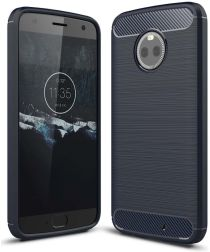 Motorola Moto X4 Geborsteld TPU Hoesje Blauw