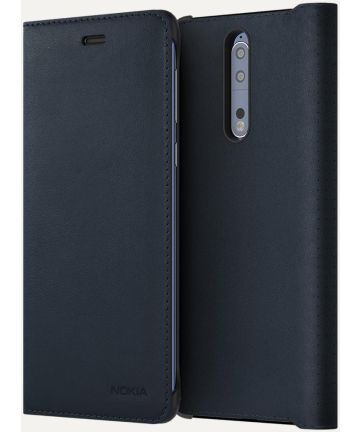 Originele Nokia 8 CP-801 Lederen Flip Case Blauw