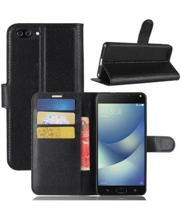 Asus Zenfone 4 Max 5.2 Lederen Wallet Stand Case Zwart