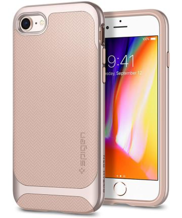Spigen Neo Hybrid Herringbone Hoesje iPhone 8 Pale Dogwood