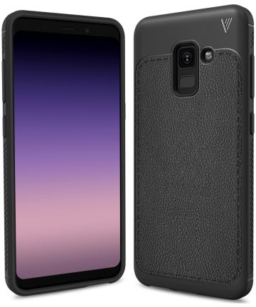 Samsung Galaxy A8 (2018) Backcover met Lederen Coating Zwart
