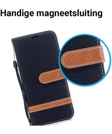 Samsung Galaxy A8 (2018) Two Tone Portemonnee Hoesje Zwart
