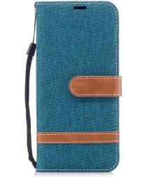 Samsung Galaxy A8 (2018) Two-Tone Portemonnee Hoesje Blauw