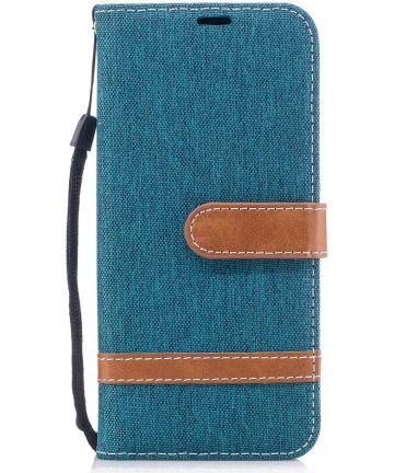Samsung Galaxy A8 (2018) Two-Tone Portemonnee Hoesje Blauw Hoesjes