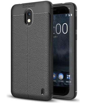 Nokia 2 Hoesje met Kunstleer Coating Zwart