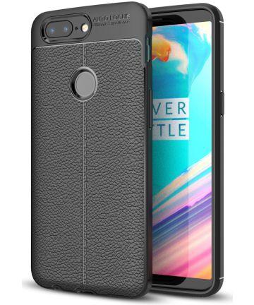 OnePlus 5T Hoesje TPU Met Leren Textuur Zwart
