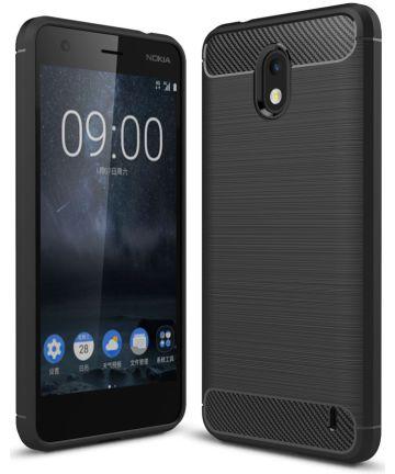 Nokia 2 Geborsteld TPU Hoesje Zwart Hoesjes