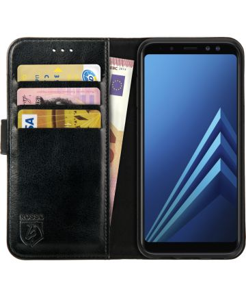 Rosso Element Samsung Galaxy A8 (2018) Hoesje Book Cover Zwart