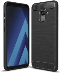 Samsung Galaxy A8 (2018) Geborsteld TPU Hoesje Zwart