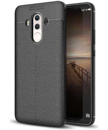 Huawei Mate 10 Pro Hoesje TPU met Leren Textuur Zwart Hoesjes