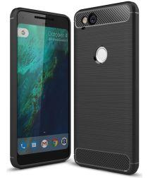Google pixel 2 Geborsteld TPU Hoesje Zwart