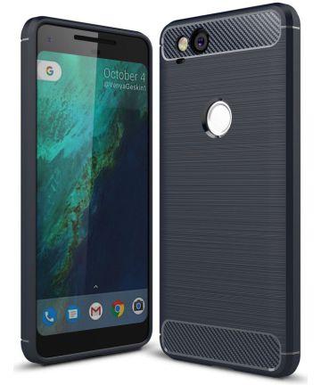Google pixel 2 Geborsteld TPU Hoesje Blauw Hoesjes