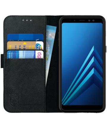 Rosso Deluxe Samsung Galaxy A8 (2018) Hoesje Echt Leer Book Case Zwart