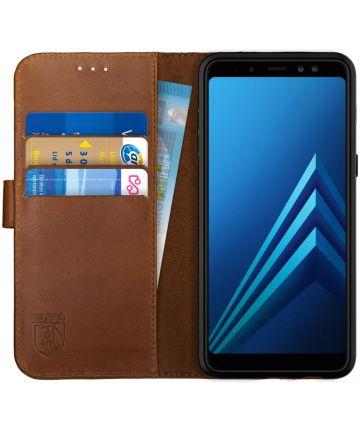 Rosso Deluxe Samsung Galaxy A8 (2018) Hoesje Echt Leer Book Case Bruin Hoesjes