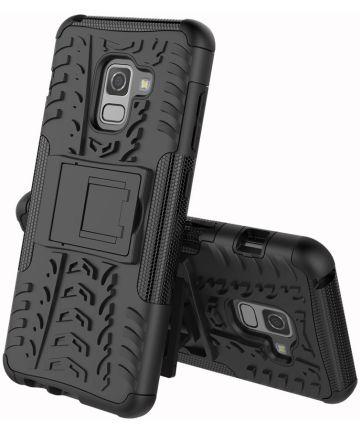 Samsung Galaxy A8 (2018) Hybride Kickstand Hoesje Zwart