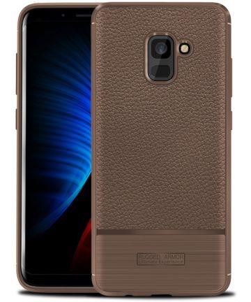Samsung Galaxy A8 (2018) Hoesje met Kunstleer Coating Bruin