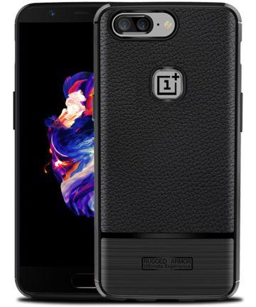 OnePlus 5 Hoesje TPU Met Leren Textuur Zwart