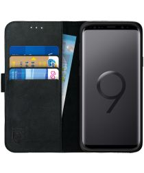 Rosso Deluxe Samsung Galaxy S9 Hoesje Echt Leer Book Case Zwart