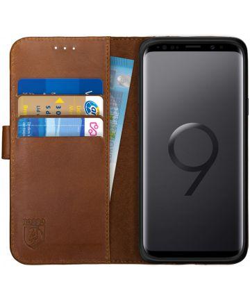 Rosso Deluxe Samsung Galaxy S9 Hoesje Echt Leer Book Case Bruin Hoesjes