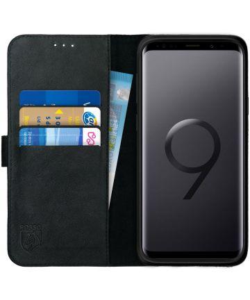 Rosso Deluxe Samsung Galaxy S9 Plus Hoesje Echt Leer Book Case Zwart Hoesjes