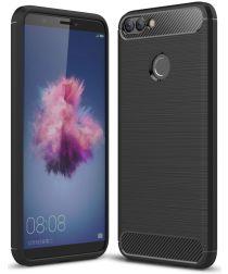 Huawei P Smart Geborsteld TPU Hoesje Zwart