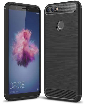 Huawei P Smart Geborsteld TPU Hoesje Zwart Hoesjes