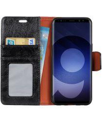 Samsung Galaxy S9 Lederen Portemonnee Hoesje Zwart