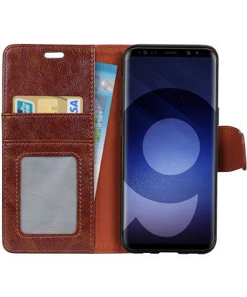 Samsung Galaxy S9 Lederen Portemonnee Hoesje Bruin