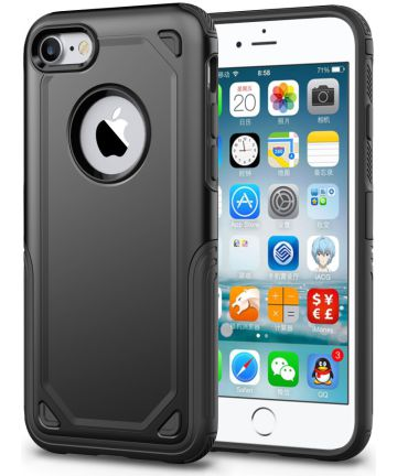 Apple iPhone 8 / 7 Hybride Rugged Armor - Zwart Hoesjes
