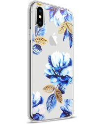 Apple iPhone X TPU Hoesje Blauwe Bloem Transparant