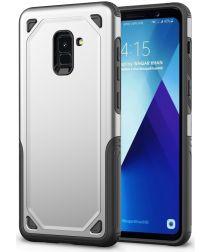Samsung Galaxy A8 (2018) Hybride Rugged Armor Hoesje Zilver